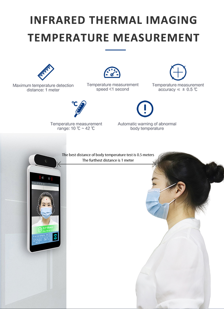 Access control Temperature Recognition Ir Non Contact No Touch Ai Infrared Face Recognition Thermometer
