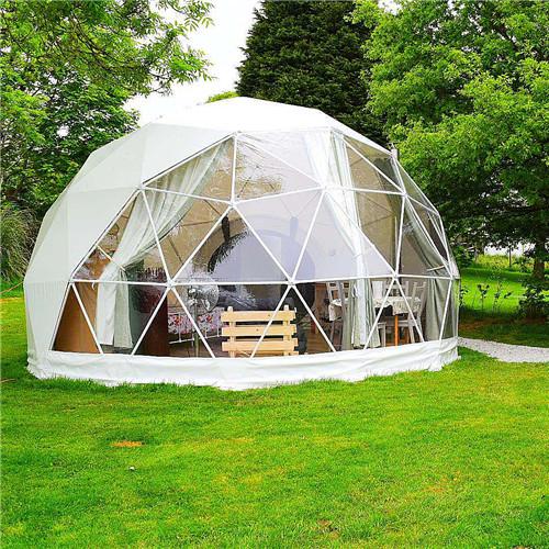 럭셔리 호텔 헤비 듀티 화이트 지오데식 텐트 겨울 영구 글램핑 텐트 리셉션