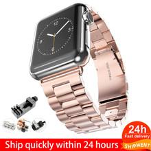 Ремешок из нержавеющей стали для Apple Watch 5, 4, 3, 2, 1, 38 мм, 42 мм, спортивный ремешок для iWatch series 5, 4, 3, 2/1, 40 мм, 44 мм(Китай)