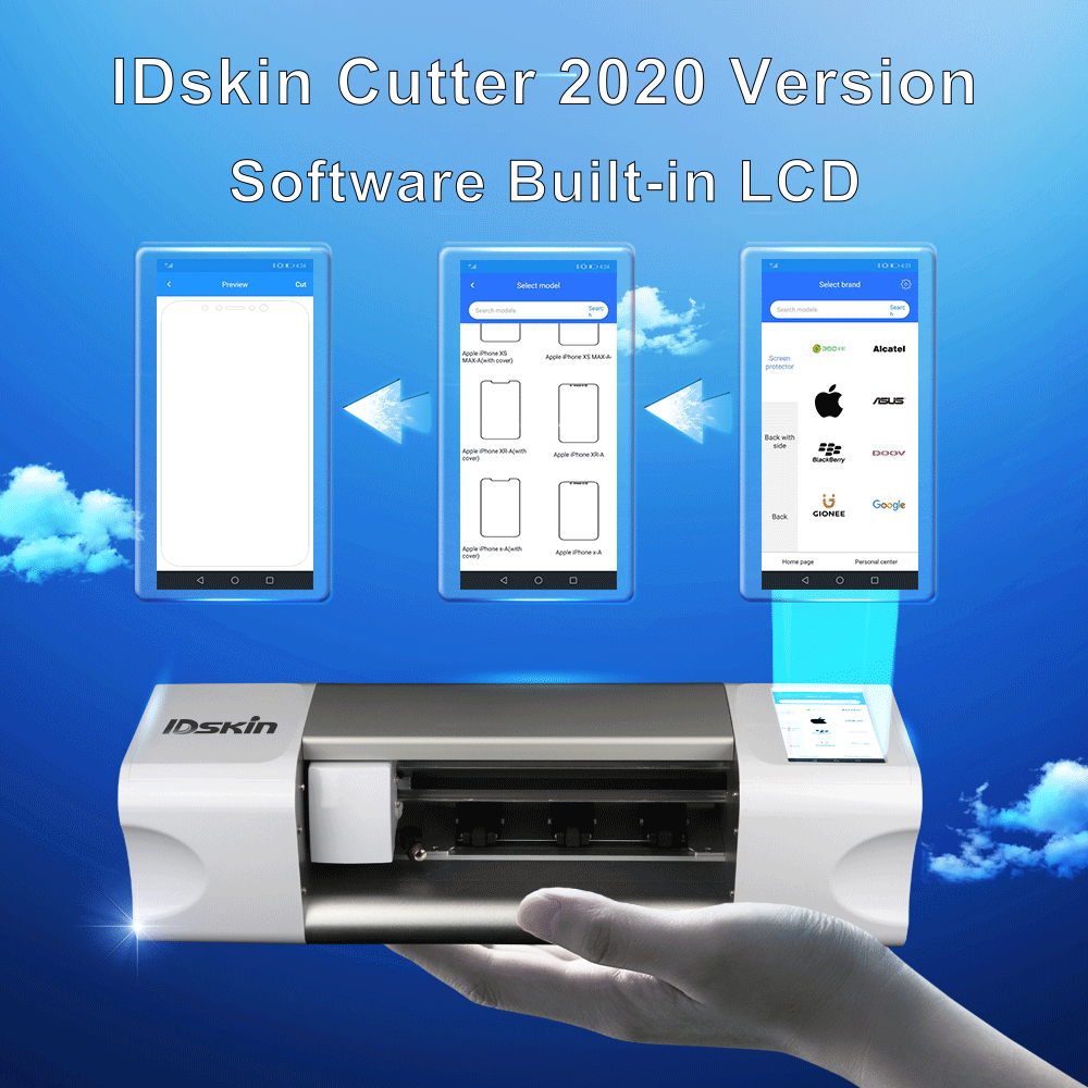 IDskin touchable tablet display control plotter for mobile self-adhesive hydrogel protectors cutting business for any models