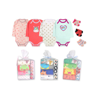 4 piece long sleeve baby bodysuit matching with 3 pair baby socks for gift set