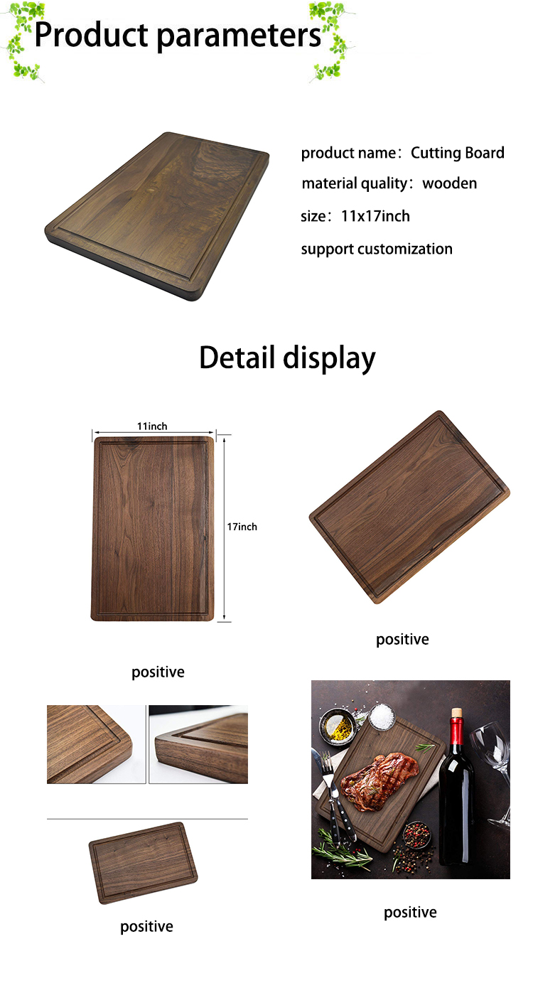 Walnut Wood Cutting Board For Kitchen Heavy Duty Chopping Boards Juice Groove for Cutting Meats Vegetables Serving Tray 11 x 17