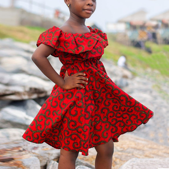 Hot sale custom african kids summer clothing girls wax printed sleeveless dresses