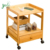 2-Tier Modern Storage Small Cabinet Bedroom Bamboo Bedside Table With Removable Wheels & Drawer