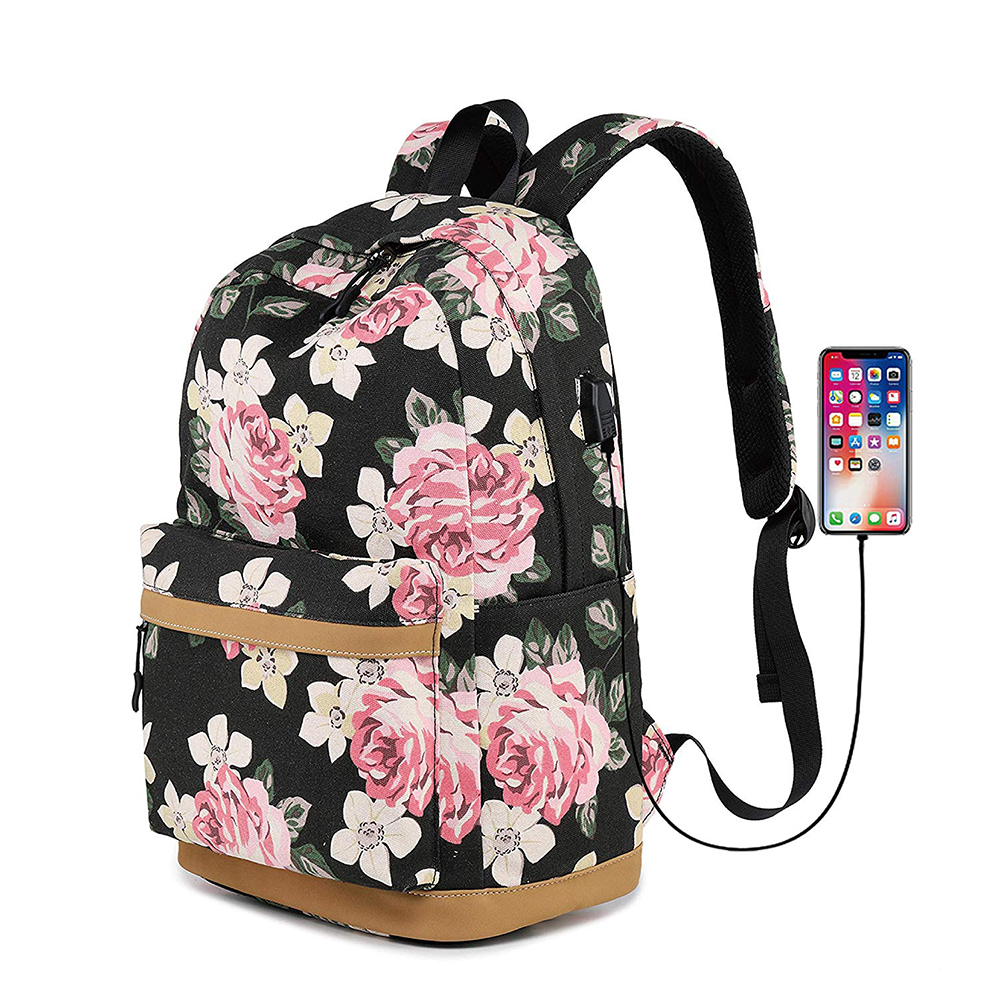 Fashion Design canvas Girl school college Leather Backpack Bag With Usb Charging Port lady travel business waterproof rucksack