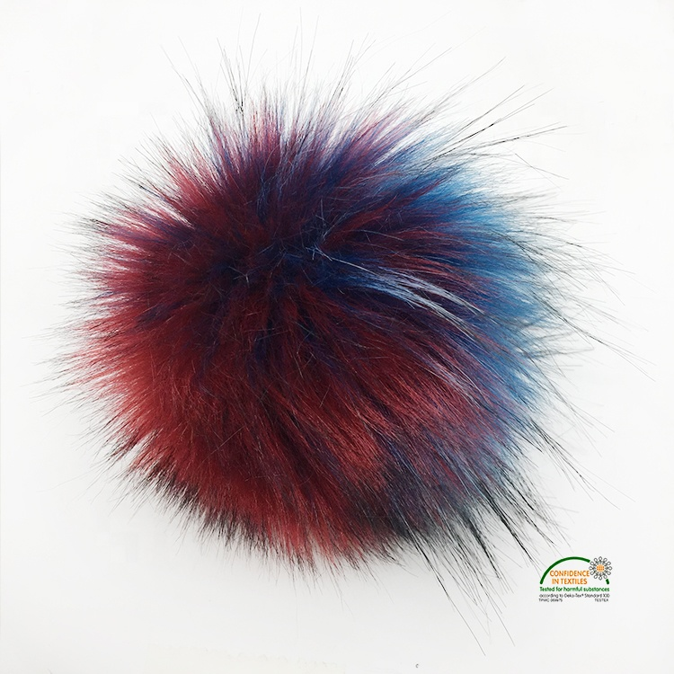 Rainbow Faux <strong>Fox</strong> Raccoon <strong>Fur</strong> Pom Pom <strong>Balls</strong> DIY Craft PomPon with button for Hats <strong>Keychains</strong> Scarves Mitten Bags Accessories