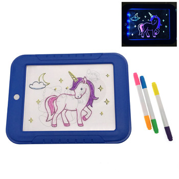 2020 kids electronic glow magic 3D writing led drawing board with multi flash