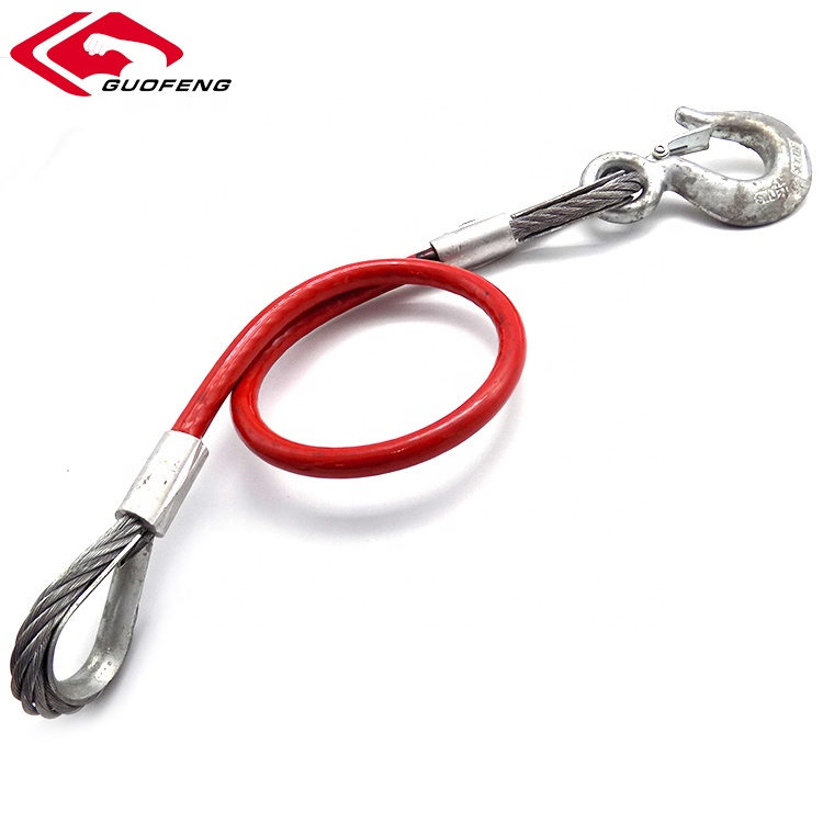 Red Safety Steel Wire Rope Sling With Stainless Steel Eye Hook For Trailer