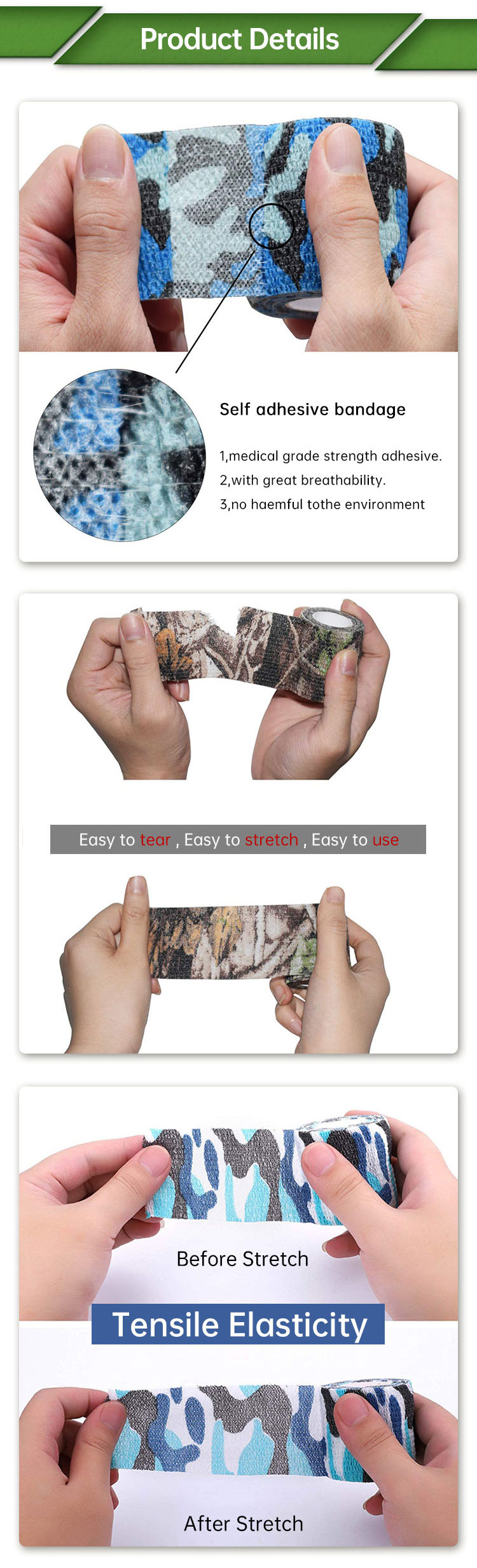 Multi Design Printed Hunter Forest Marking Military Camo Cloth Tape