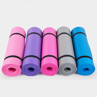 Customized Logo Pink Purple Blue Color Fitness Pilates NBR Yoga Mat With Strap and Mesh Bag