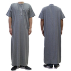 2019 Casual Muslim Clothing Cotton Material Islamic Men's Thobe For Wholesale