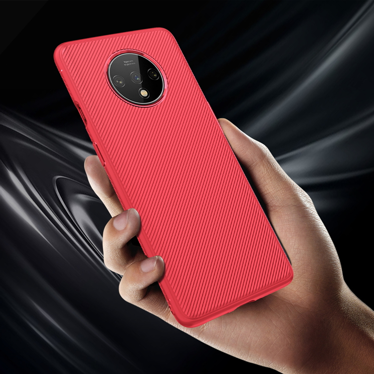 For Oneplus 7T Case TPU New Flexible Diagonal Stripes Pattern Soft Rubber Back Phone Cover Cases