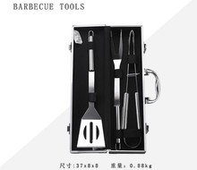 Hoge kwaliteit multifunctionele draagbare outdoor barbecue vork mes kit set 3pcs aluminium case <span class=keywords><strong>bbq</strong></span> grill tool
