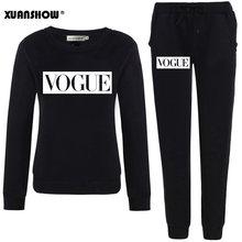 XUANSHOW наряды 2020 осенне-зимний женский костюм VOGUE с надписью 0-Neck Флисовая теплая одежда толстовка + длинные штаны комплект из 2 предметов(Китай)