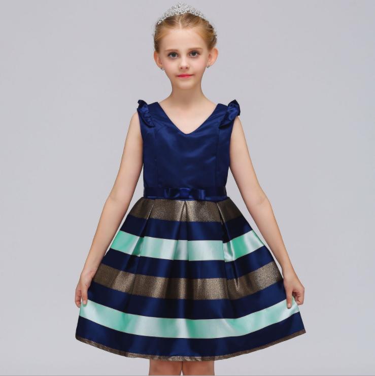Girl's striped print princess dress v-neck dress with classic elegant princess dress