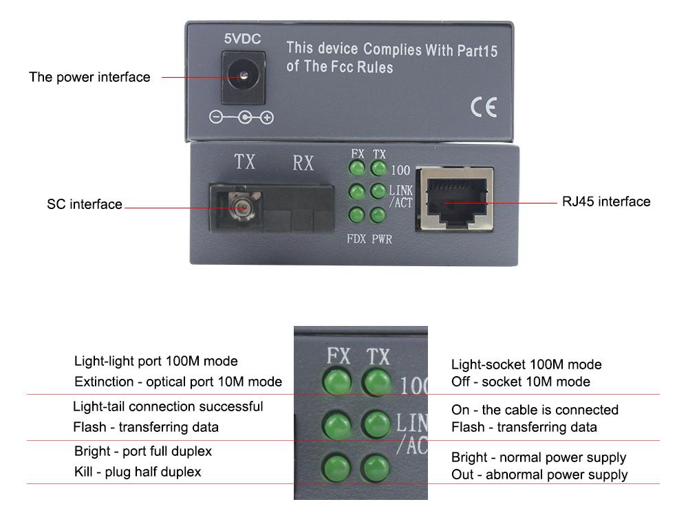 100M media converter 1310nm/1550nm 1 RJ45 port ethernet to fiber optic converter