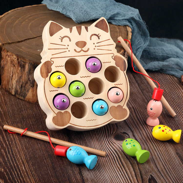 2020 New Arrival Kids Wooden Montessori Fishing Toys Magnetic Cat Fishing Game With 2 Fishing Pole For Toddlers