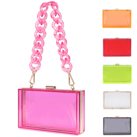 Wholesale 2020 Summer ladies Transparent Boxed Purse Crossbody Handbag Trendy women clear acrylic evening clutch bag