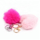 Gifts Pompom Key Chains Wholesale Custom Metal Key Ring Pom Plush Keychains with Pearl Decorative