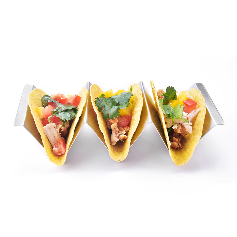 Amazon hot-sale stainless steel taco holder with handles, taco holder stand, 4 pack, 2 pack, 6 pack available