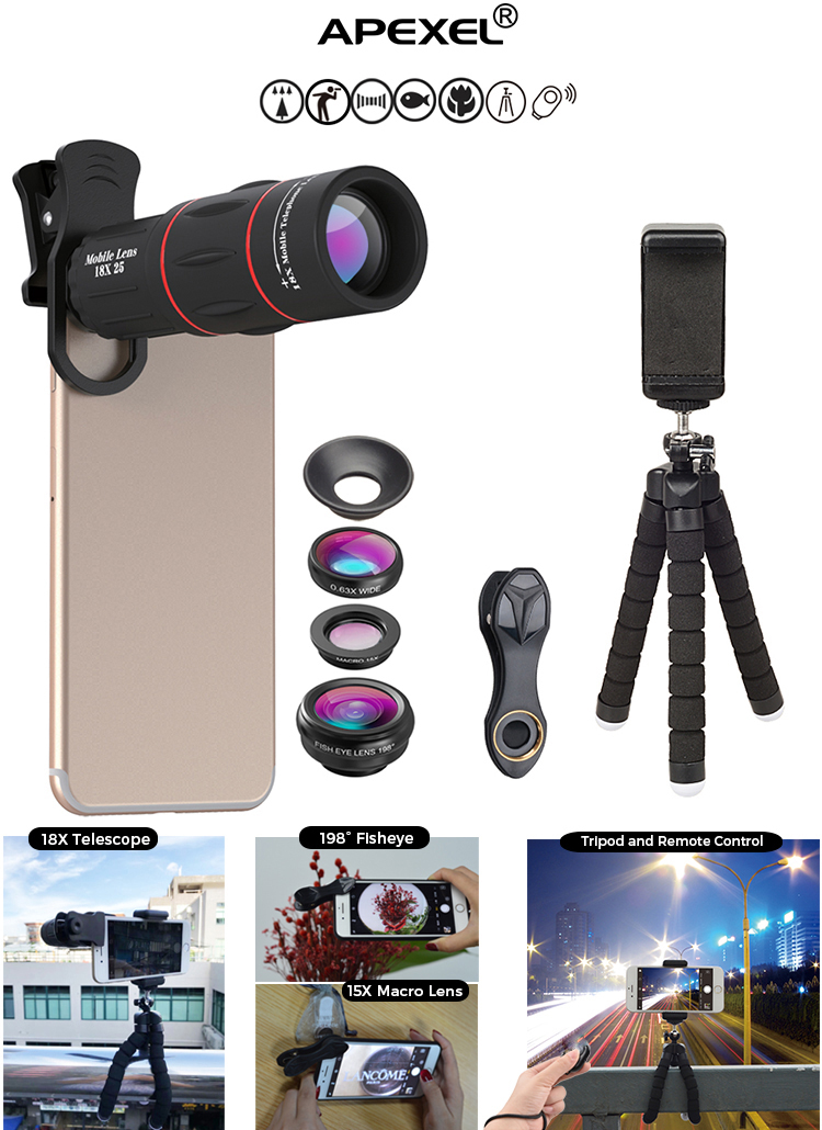Amazon Top Seller 2019 APEXEL Mobile Camera Lens Universal Clip 18x Optical Zoom Telescope Lens for Mobile Phone