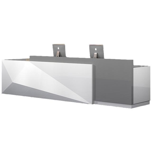 ขนาดใหญ่ที่ทันสมัยเรียบง่ายเคาน์เตอร์สีขาวบริษัทด้านหน้าโต๊ะไม้แผนกต้อนรับ