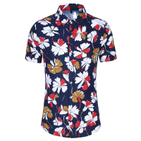 Factory supplier custom made cotton holiday beach red flower button shirt men
