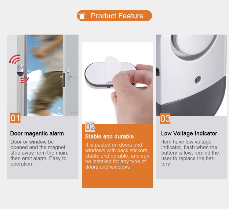 Loud Sound Window Alarm Sensor Wireless Home Security System Devices In Door For Protect Your House Product