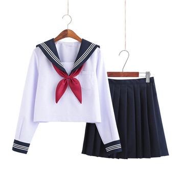 School Dresses For Girls White Shirt With Tie Long-sleeved Navy Sailor Suit Large Size Anime Form High School Jk Uniform