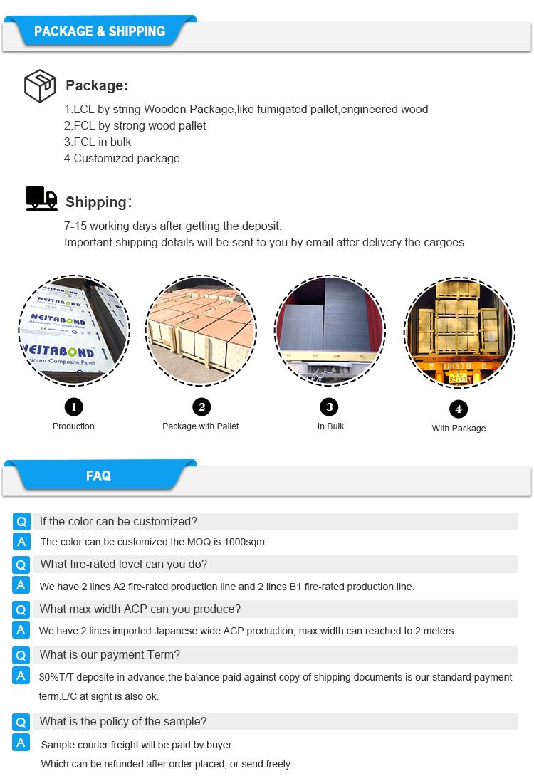 NEITABOND AKP wand verkleidung B1 / A2 Feuerfeste aluminium-verbundplatte
