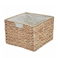 Wicker Square Basket Lined Storage Bedroom Bathroom Kitchen Water Hyacinth