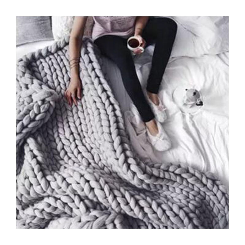 Wholesale Super Soft Big Knit Throw Blanket , Chunky Knit Blanket