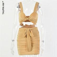TAUPIN AM блестящая бандажная Одежда сексуальное платье для женщин без рукавов верх с рюшами юбка костюм комплект из двух предметов летние золо...(Китай)