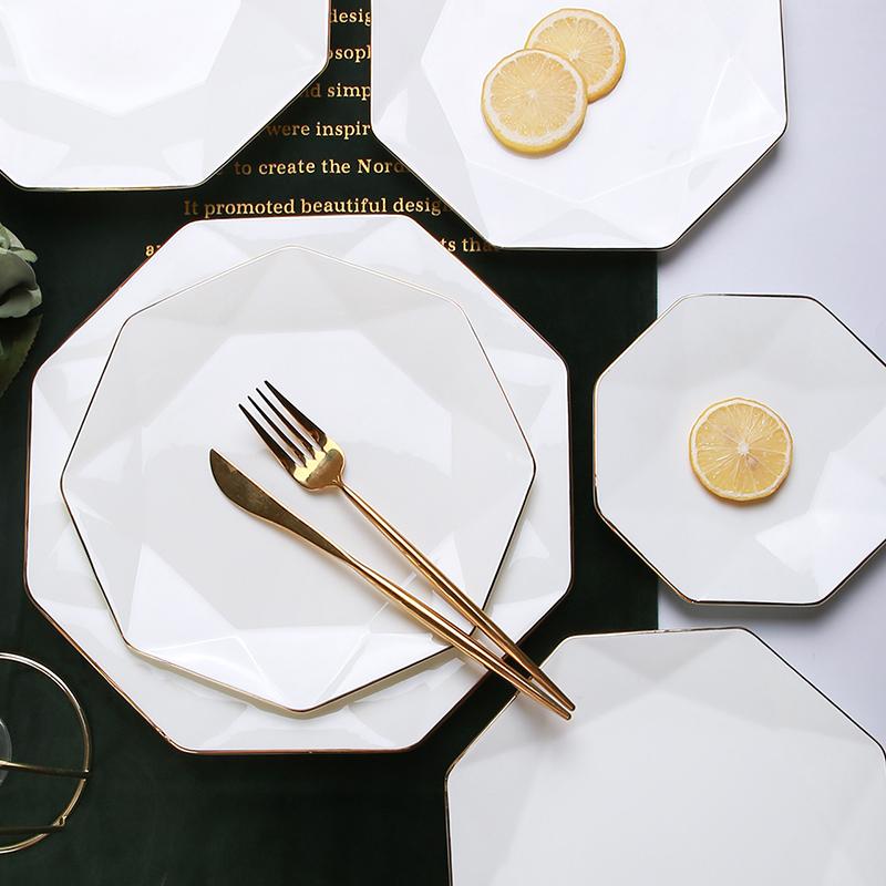 अच्छी गुणवत्ता चीनी मिट्टी प्लेटें शादी सफेद पत्थर के पात्र क्रिसमस घर में इस्तेमाल किया लक्जरी चीनी मिट्टी के बरतन पिज्जा थाली सेट