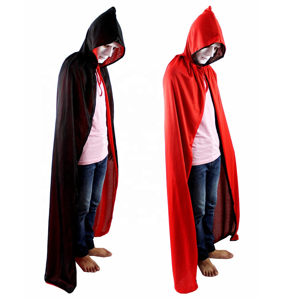 Low MOQ Halloween Birthday Party Double-sided Hooded Hat Adult Witch <strong>Cape</strong> Cloak