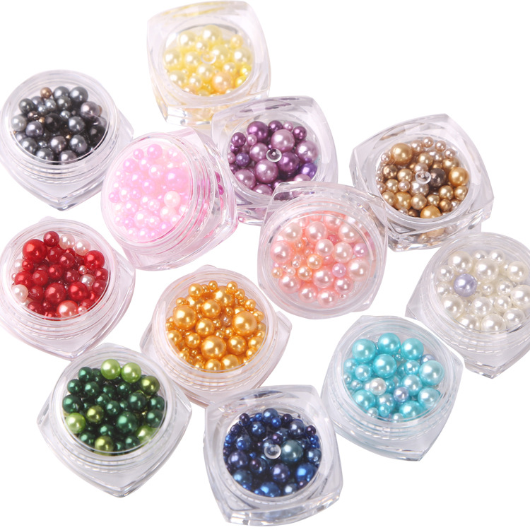 Nail Art Decoration Accessories 3D DIY Pearl Round Glossy Shell Nail Beads Nail Jewelry Rhinestone 12 Colors/Set