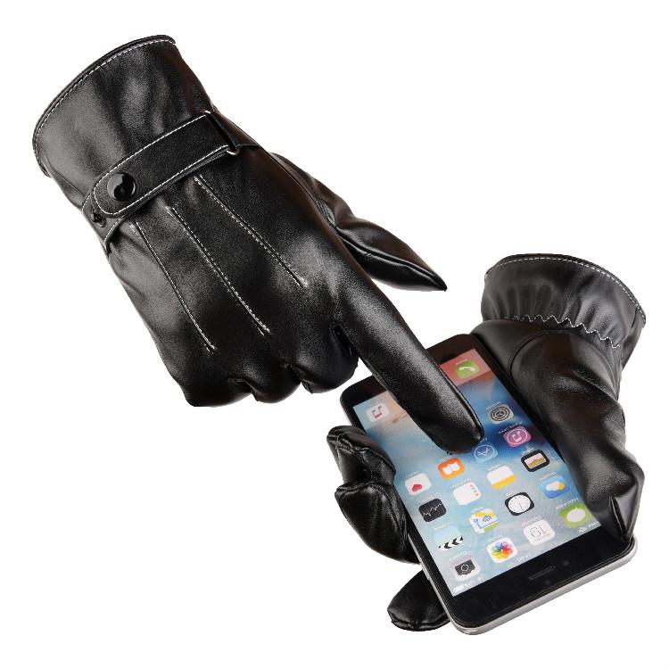 De alta qualidade da moda inverno homens luvas de couro macio preto
