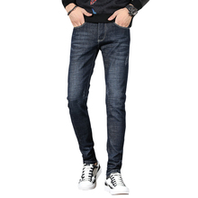 Fashion Soft Black Business Casual Klassieke Casual Demin <span class=keywords><strong>Broek</strong></span> Stretch Slanke Heren <span class=keywords><strong>Jeans</strong></span>