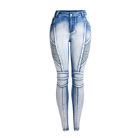 Hot sale fashion washed white light-colored stretch skinny jeans for women