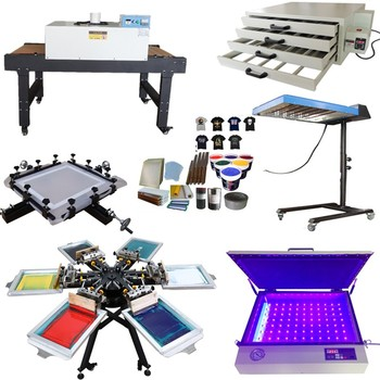 Manual Rotary 6 Color 6 Station Silk Screen Printing Machine with micro registration full set