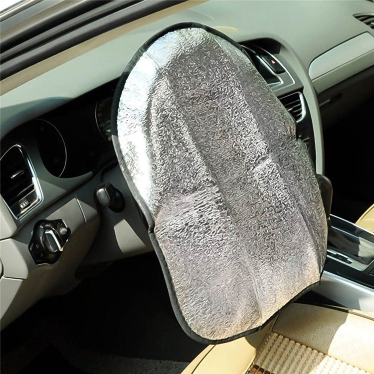 Car custom double layers steering wheel cover sunshade sunshade summer aluminum film pearl cotton bubble sun shade