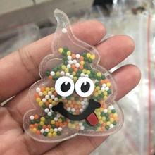 Cartoon Kak Acryl shaker hars Acryl Planar Hars met Vloeiende Bead voor DIY Hair Bows 61*48MM