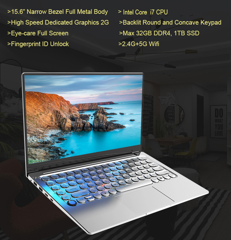 Premium Office home family Core i7 Laptop computers 14.1 inch with Dedicated Graphics  backlit Keyboard fingerprint unlock