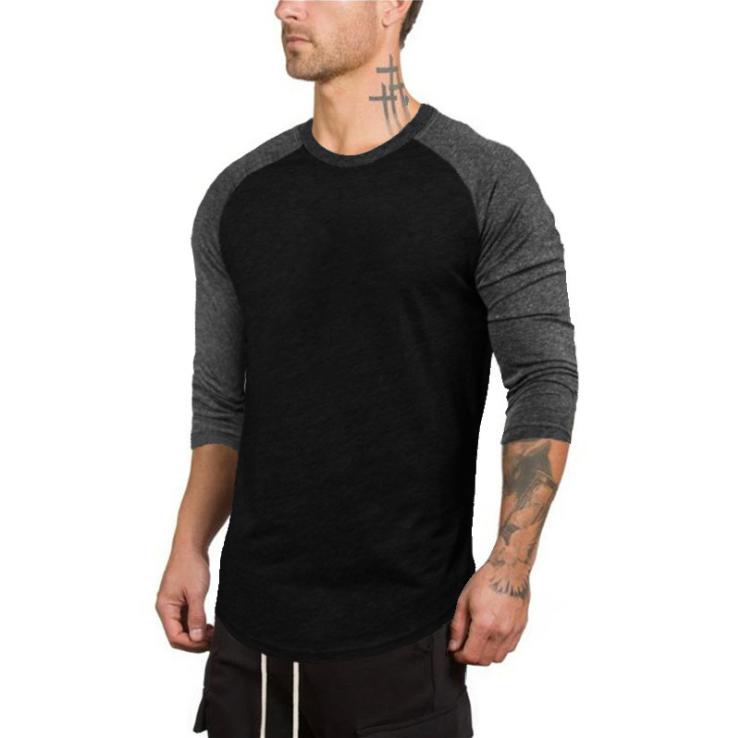No brand Pure Color Cotton Men's Slim 7/10 Sleeve Round Neck Sports Fitness Hip Hop Fashion t-shirt 2
