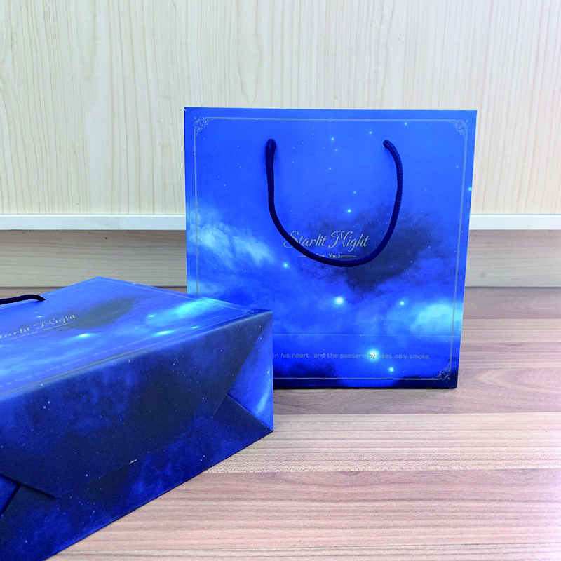 product-Dezheng-Whole Custom Elegant Recycling Blue Starry Sky Paper Bag With Handles-img-1