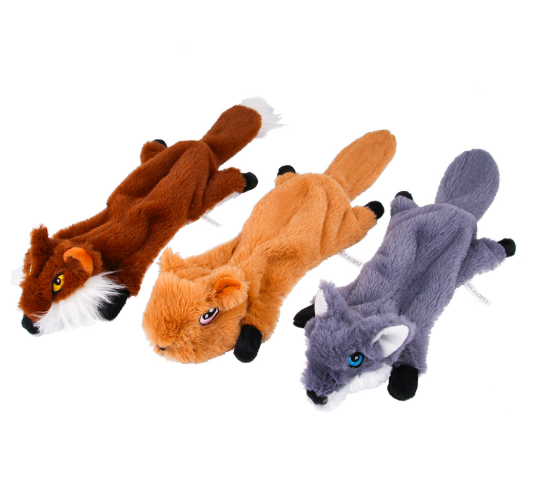 Amazon hot Pet Dog Chew Toys 5 pack squeaky plush toy set with wild animals black squirrel, wild goose, monkey, raccoon, wolf
