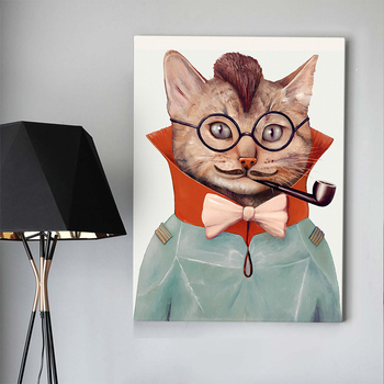 Custom cool vintage cartoon cat portrait drawing wall art painting on canvas