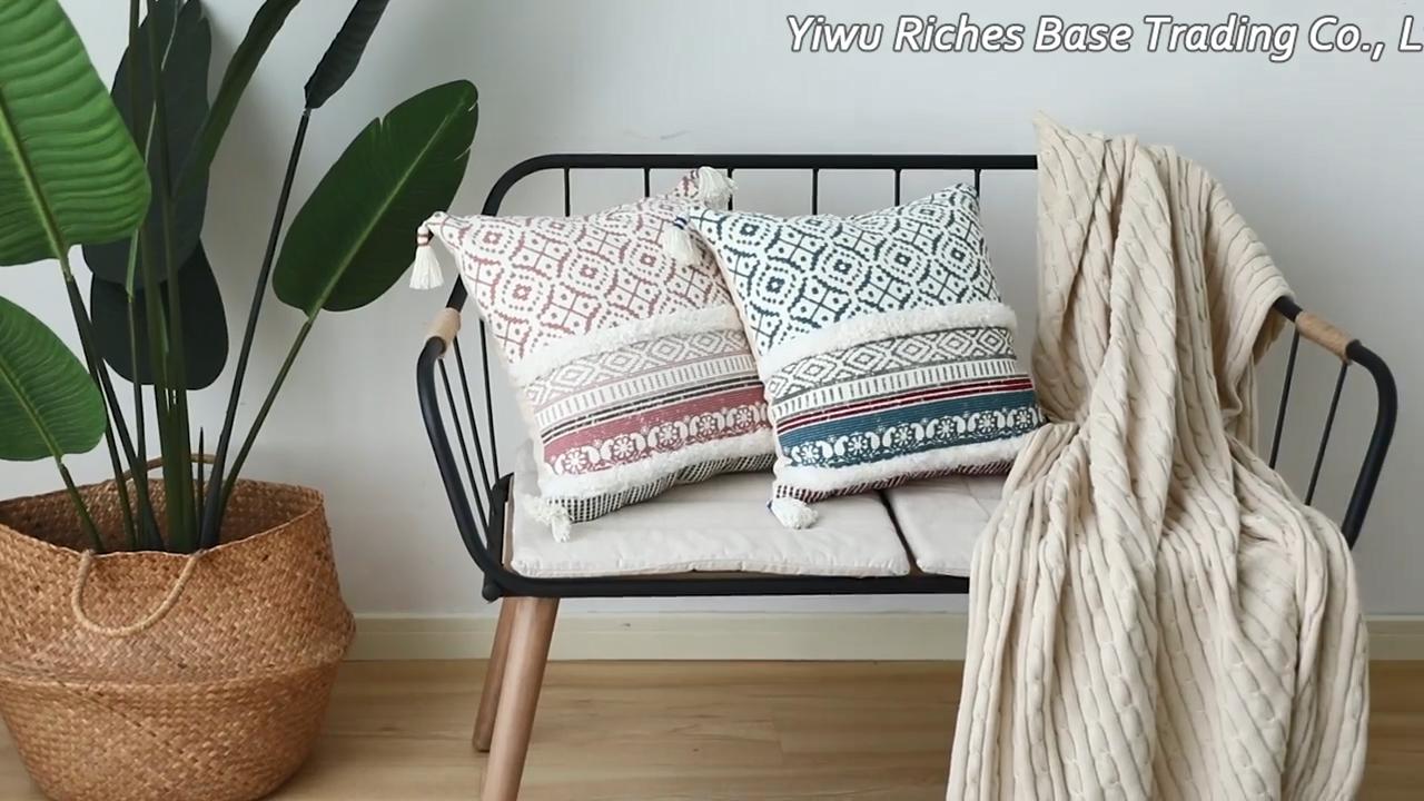 Новейший дизайн на заказ богемные хлопчатобумажные тканые пушистые Уличные декоративные Чехлы для подушек