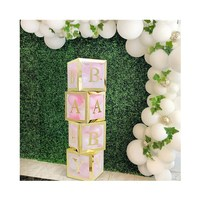4pcs DIY Plastic Transparent BABY Box Baby Blocks Boy Girl Baby Shower Decoration Backdrop Wedding Birthday Party Supplies