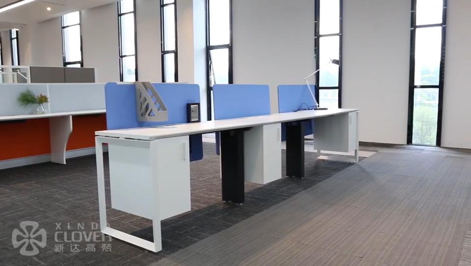 Estilo moderno Simple Extra grande superficie de trabajo computadora estación de trabajo de oficina escritorio para dos personas con Pedestal de la Oficina para el hogar uso